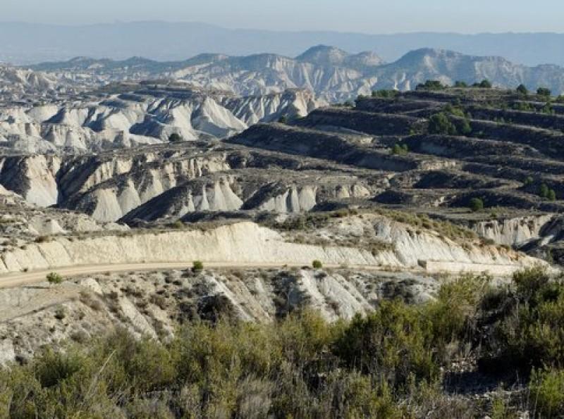 Mirador de Gebas, the viewing point over the badlands in Alhama de Murcia