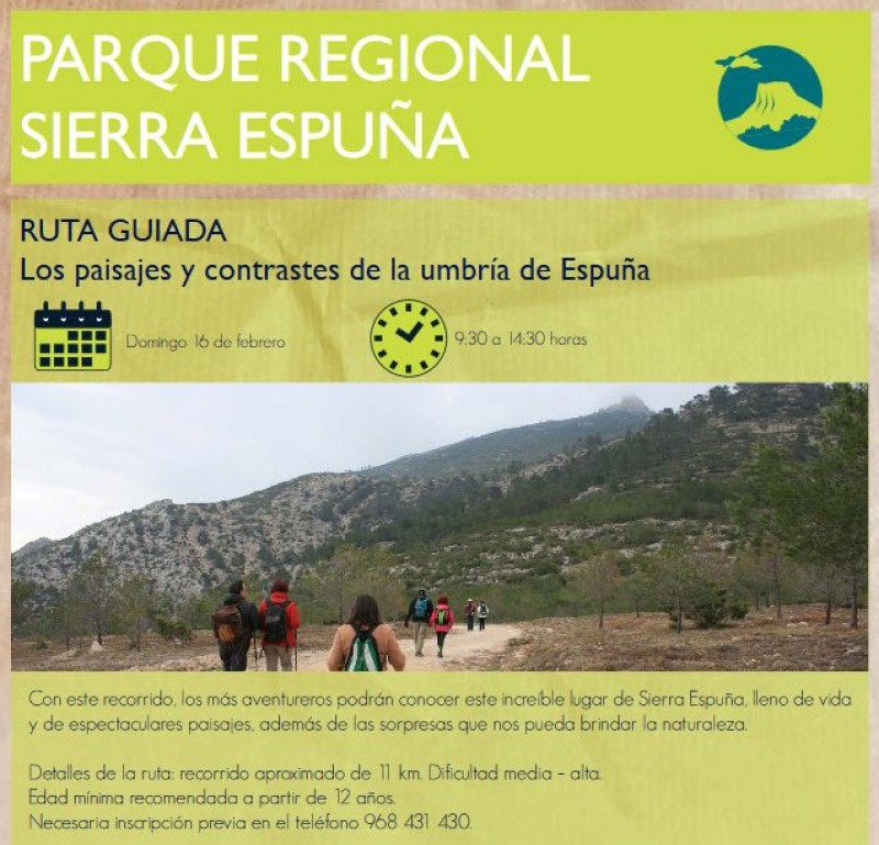 <span style='color:#780948'>ARCHIVED</span> - Sunday 16th February Free 11km guided walking route in the Sierra Espuña regional park