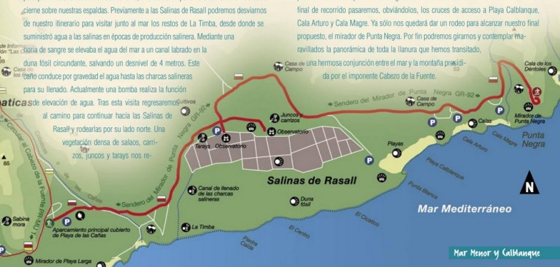 3.85km walk to Punta Negra from Playa de las Cañas in the regional park of Calblanque