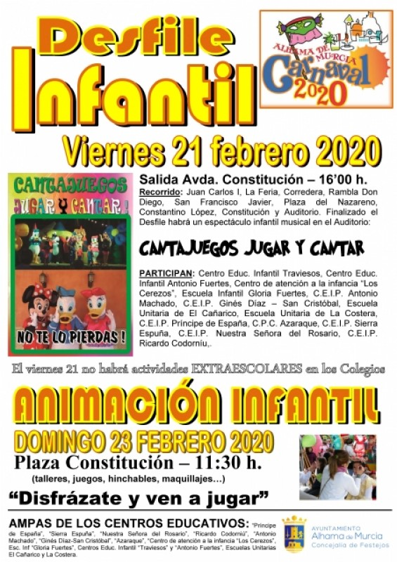 <span style='color:#780948'>ARCHIVED</span> - 21st, 23rd February parade and fun for children: Alhama de Murcia Carnival