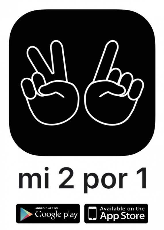 Hundreds of 2 for 1 offers accessible from your mobile phone, saving you money in Murcia and Alicante region