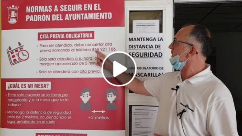 <span style='color:#780948'>ARCHIVED</span> - Padrón municipal re-opens in Alhama de Murcia