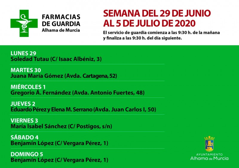 24 hour pharmacy rota in Alhama de Murcia 29th June to 5th July 2020