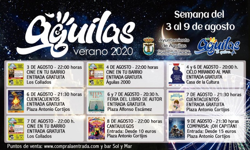3rd to 9th August entertainment in the Águilas municipality
